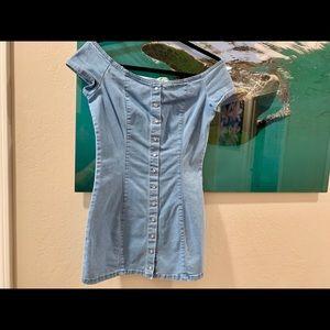 Off The Shoulder Mini Jean Dress